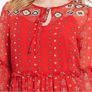 Buffalo David Bitton Dresses - Buffalo David Bitton Red Border Folk Floral